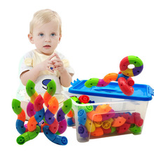 лучшая цена Colorful Educational Water Pipe Building Blocks Toys For Children DIY Assembling Pipeline Tunnel Block Model Toy For Kids