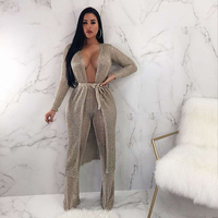 Fashion Two 2 Pieces Set Long Coat With Pants 2018 New Top Quality Women Summer Sashes Deep V Neck Celebrity Party Women Clothes
