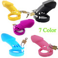 Black Blue Red Pink White Purple Brown 6000L Silicone Male Chastity Device Chastity Cage with Lock and 5 Penis Ring Toy for Men