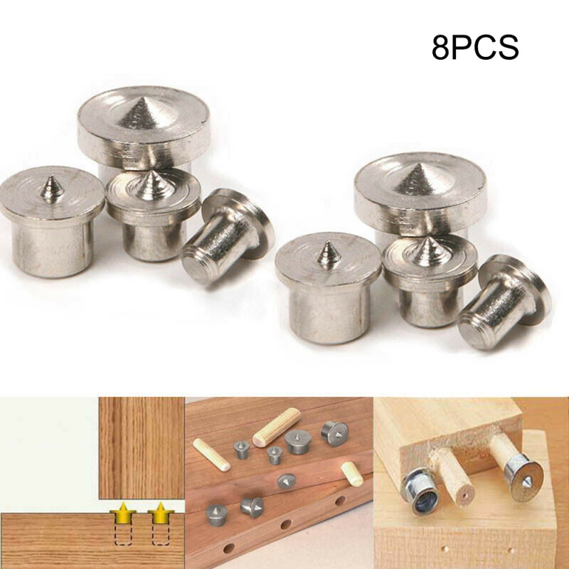 Dropshipping 4/8Pcs Dowel Drill Centre Points Pin Wood 6mm 8mm 10mm 12mm Dowel Tenon Center Set