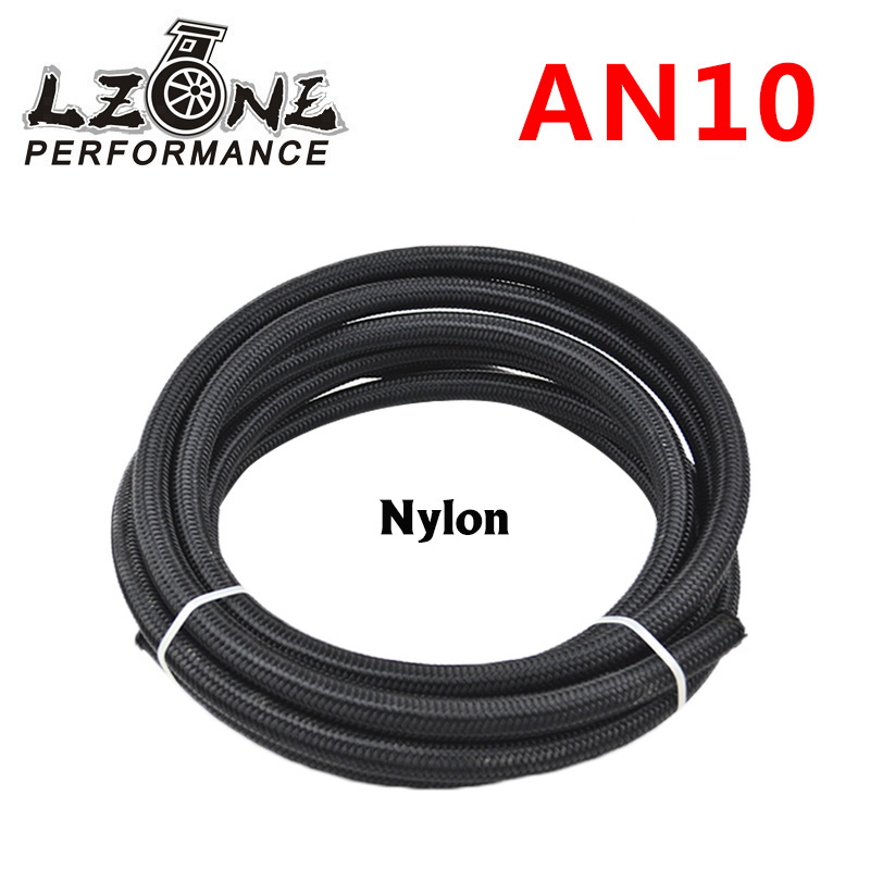 LZONE - <font><b>10</b></font> AN Pro's Lite Black Nylon Racing Hose Fuel Oil Line 350 PSI <font><b>5</b></font> Meter JR7314 image