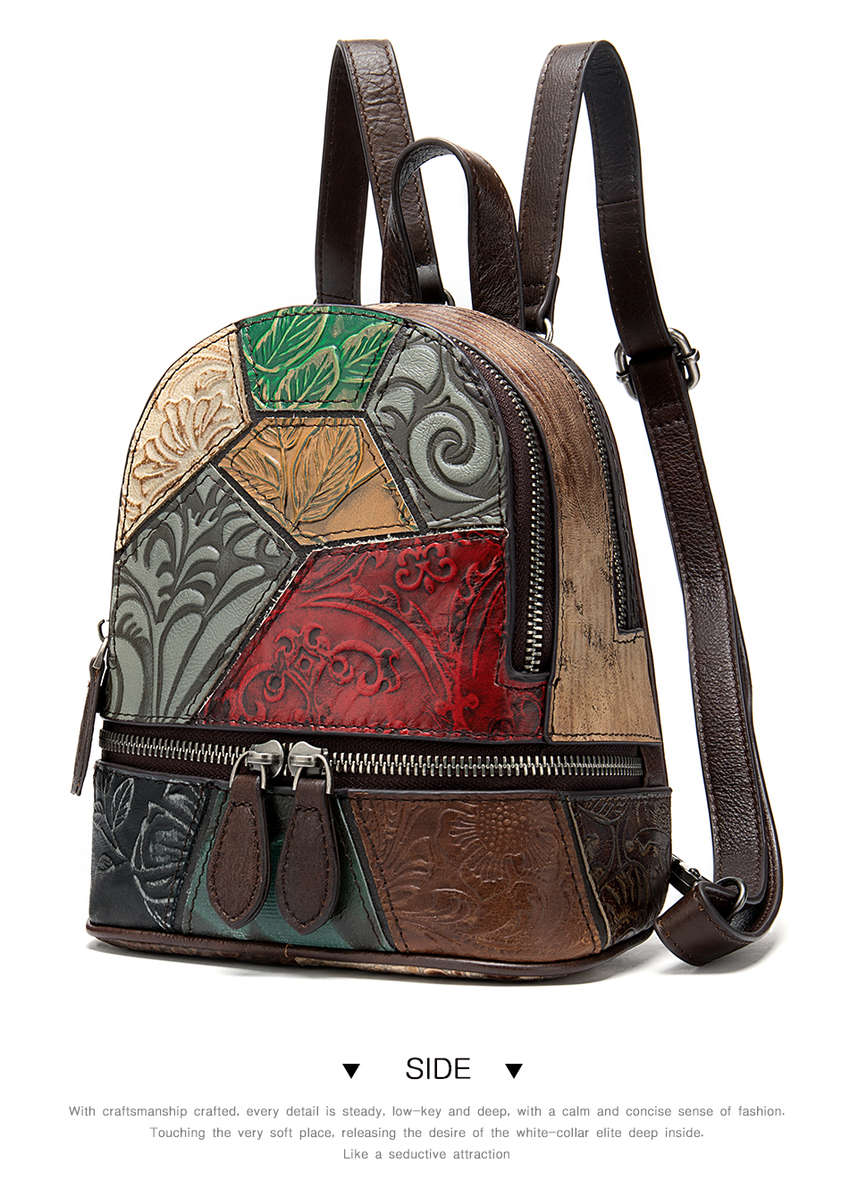 Women's Backpack Genuine Leather Patchwork Mini Backpack