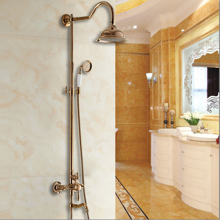 Luxury Rose Golden Bathroom Shower System 8\