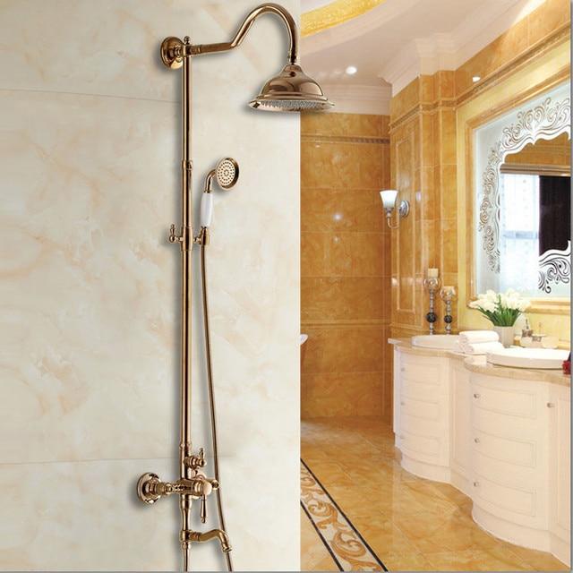 Luxury Rose Golden Bathroom Shower System 8\