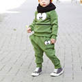 2Pcs Baby Kid Unisex Suits Tracksuit Smiling Face Cotton Blend Top Pant Outfit