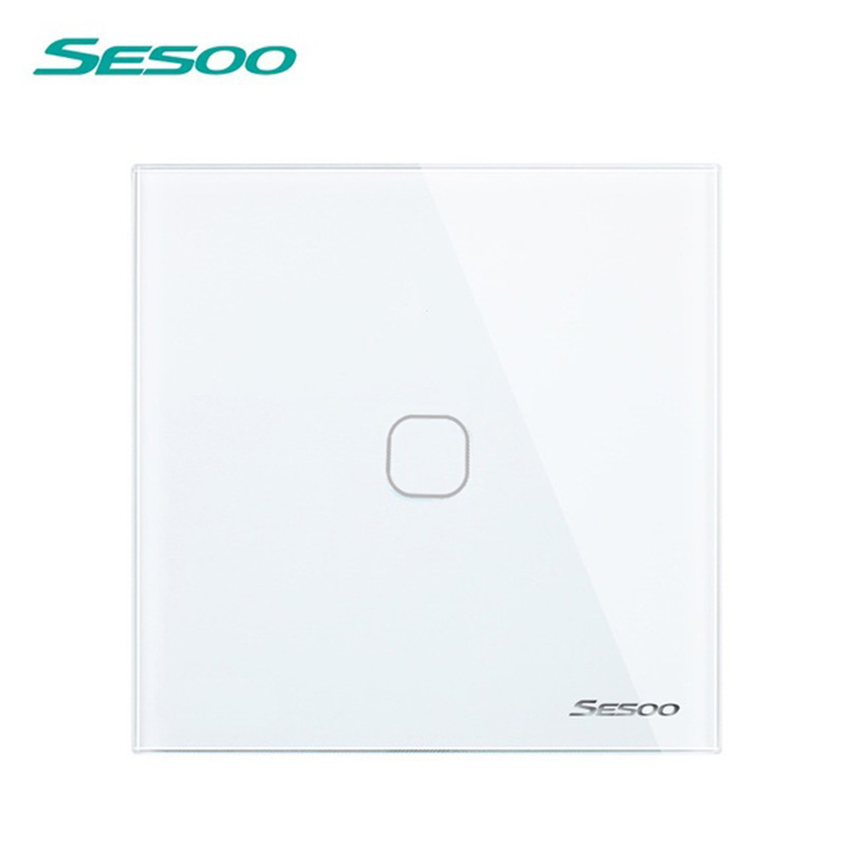 EU/UK Standard SESOO Touch Switch 1 Gang 1 Way, Crystal Glass Switch Panel, Wall Light Switch, Lamp Touch Switch for Smart Home smart home eu touch switch wireless remote control wall touch switch 3 gang 1 way white crystal glass panel waterproof power