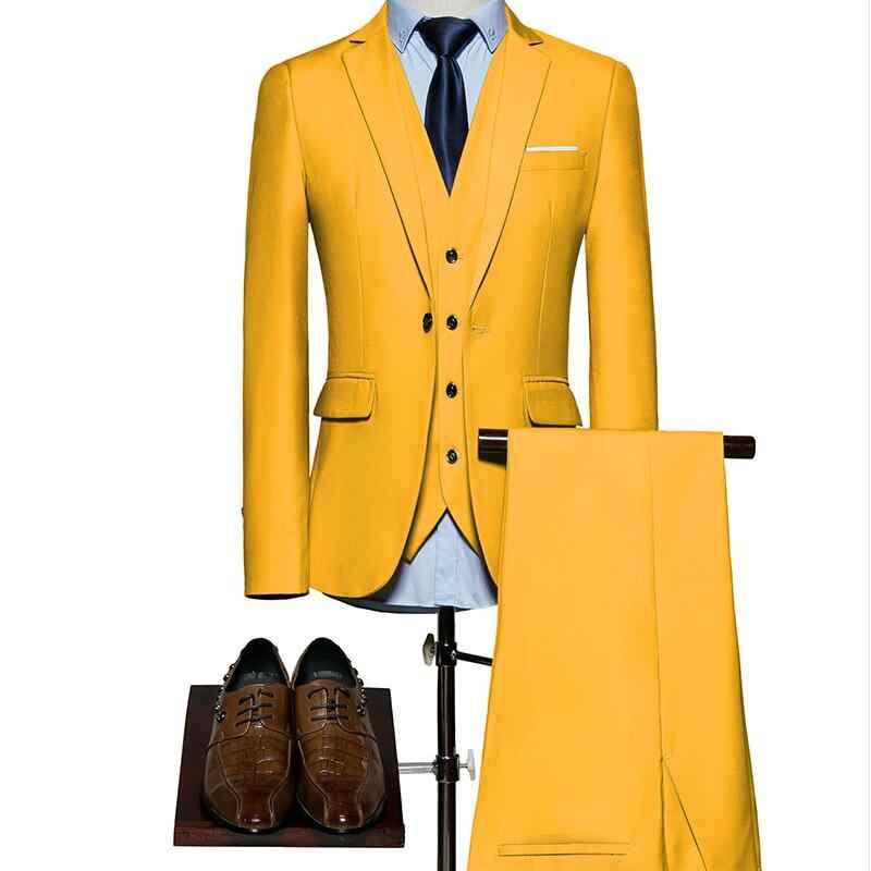 (ブレザー+パンツ+ベスト)クラシック男性のスーツスリムロイヤルブルー結婚式新郎摩耗男性スーツ黒紳士衣装マリアージュオムs-6xl