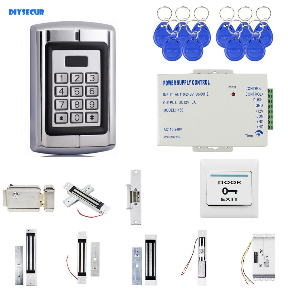 DIYSECUR RFID 125KHz ID Password Metal Keypad Access Control Security System Kit + Electric Lock Mangetic Lock Door LockDIYSECUR RFID 125KHz ID Password Metal Keypad Access Control Security System Kit + Electric Lock Mangetic Lock Door Lock