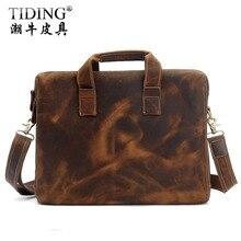 Cattle vintage uncouth crazy horse leather handbag cross body briefcase man font b bag b font