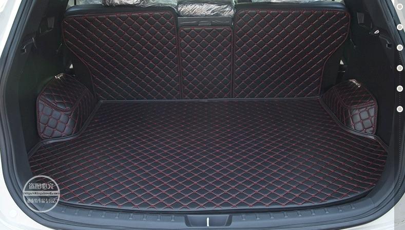 full surrounded no odor anti skip for Hyundai Santafe 5seats trunk mats durable waterproof leather Santa fe luggage mat