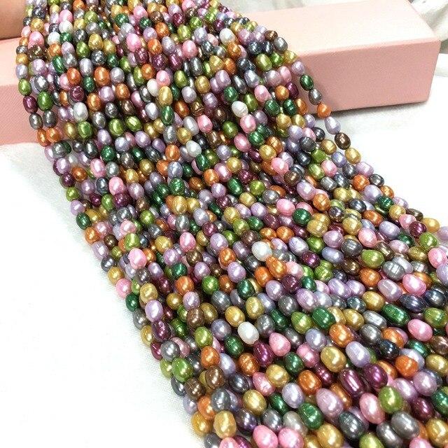 Натуральные пресноводные жемчужные бусины высокого качества 36 см пробивные свободные бусины для женщин DIY ожерелье браслет ювелирных изделий 12 цветов 5-6 мм