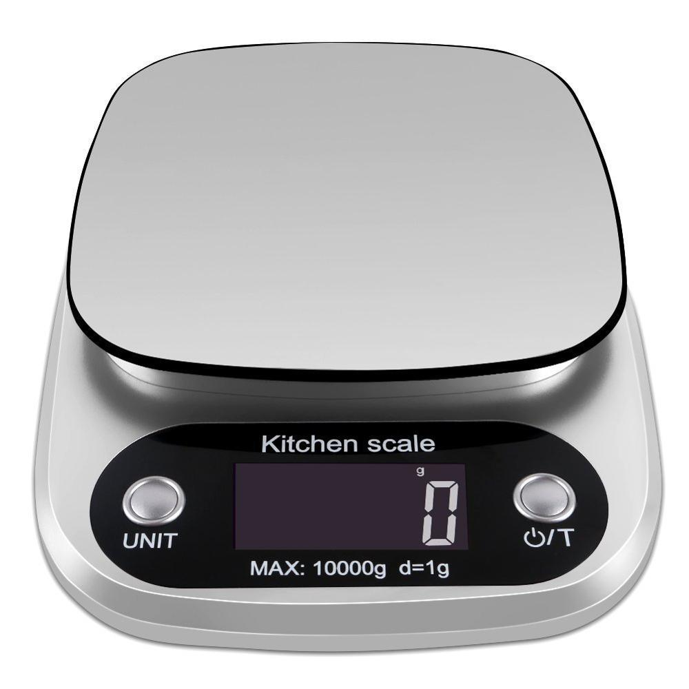 Practical Digital Kitchen Scale Multifunction Food Scale 22 Lb 10 Kg Silver Stainless Electronic Scale