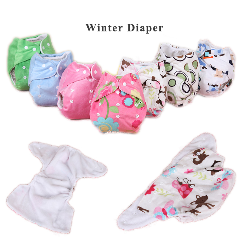 1PC All In One Reusable Cloth Diapers For Child Cloth Diaper Warm Fleece Thicken Winter Nappy Cover Washable Waterproof Diapers