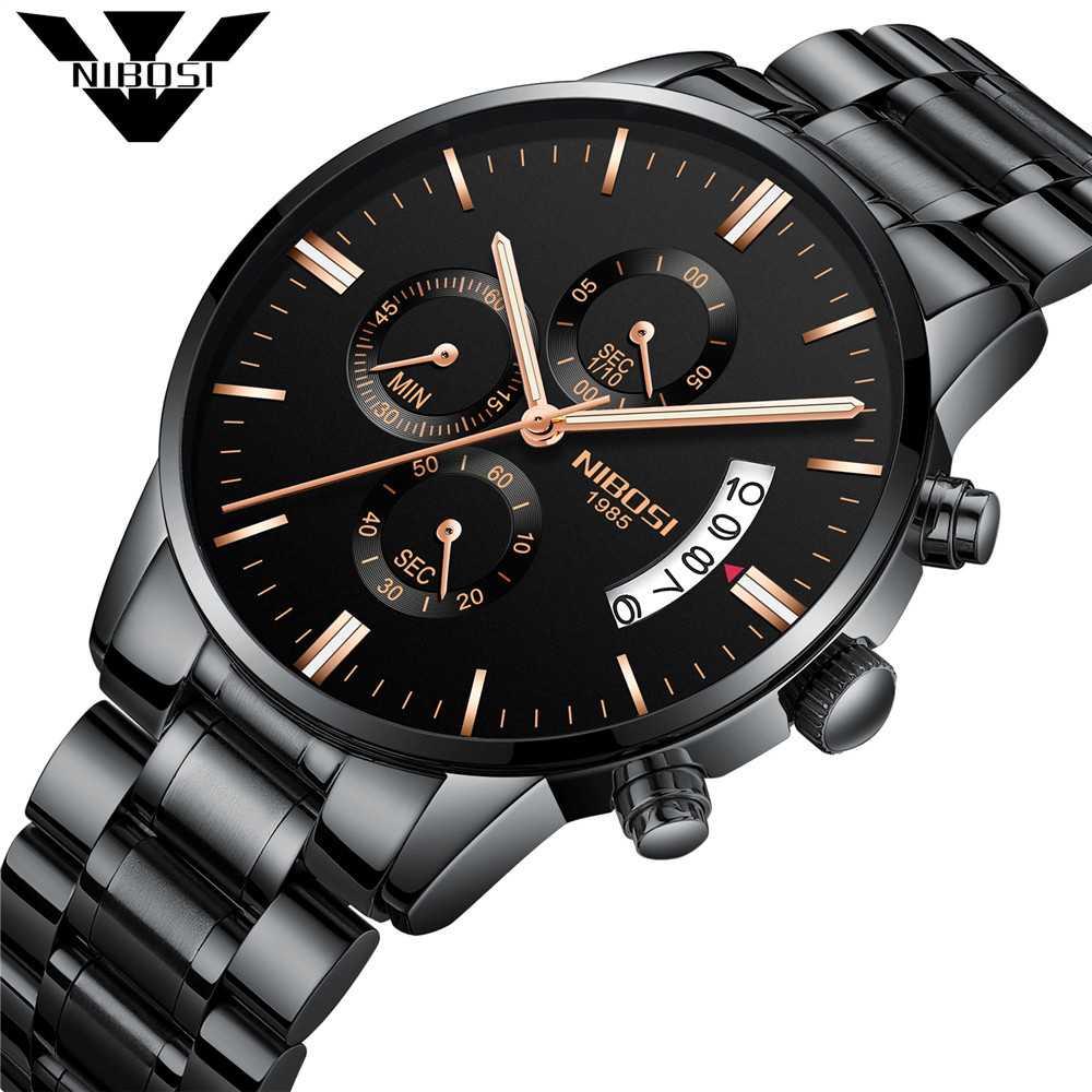 NIBOSI Mens Watches Top Brand Luxury Men Military Sport Luminous Wristwatch Male Leather Quartz Watch Clock relogio masculino gimto top brand luxury men watch leather military male watches big dial calendar quartz wristwatch sport clock relogio masculino