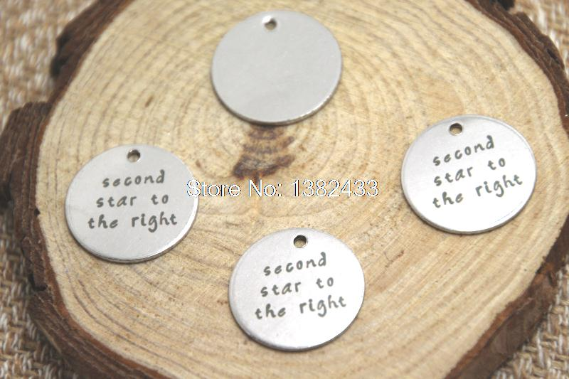 10pcs second star to the right charm silver tone message peter pan charm pendant 20mm