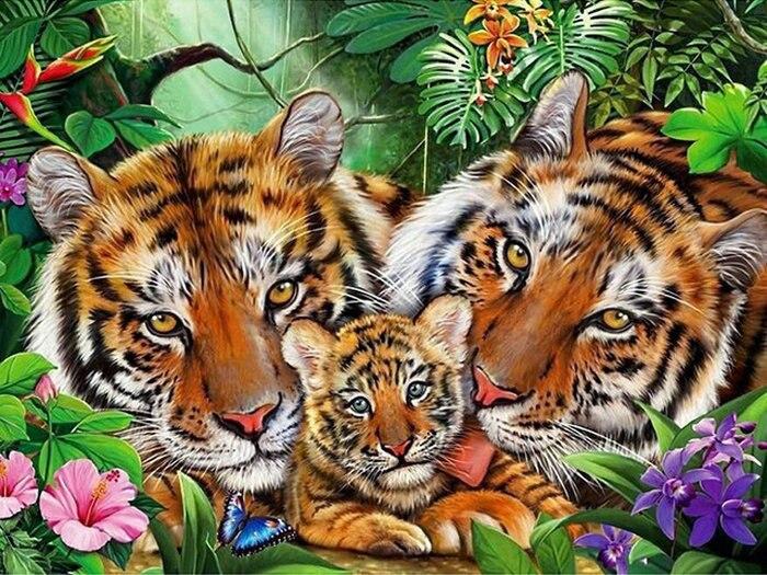 Diamant Peinture Point De Croix kit 5D Diamant Mosaïque Strass Décor Peinture Icône BRICOLAGE Diamant Broderie animal tigres image
