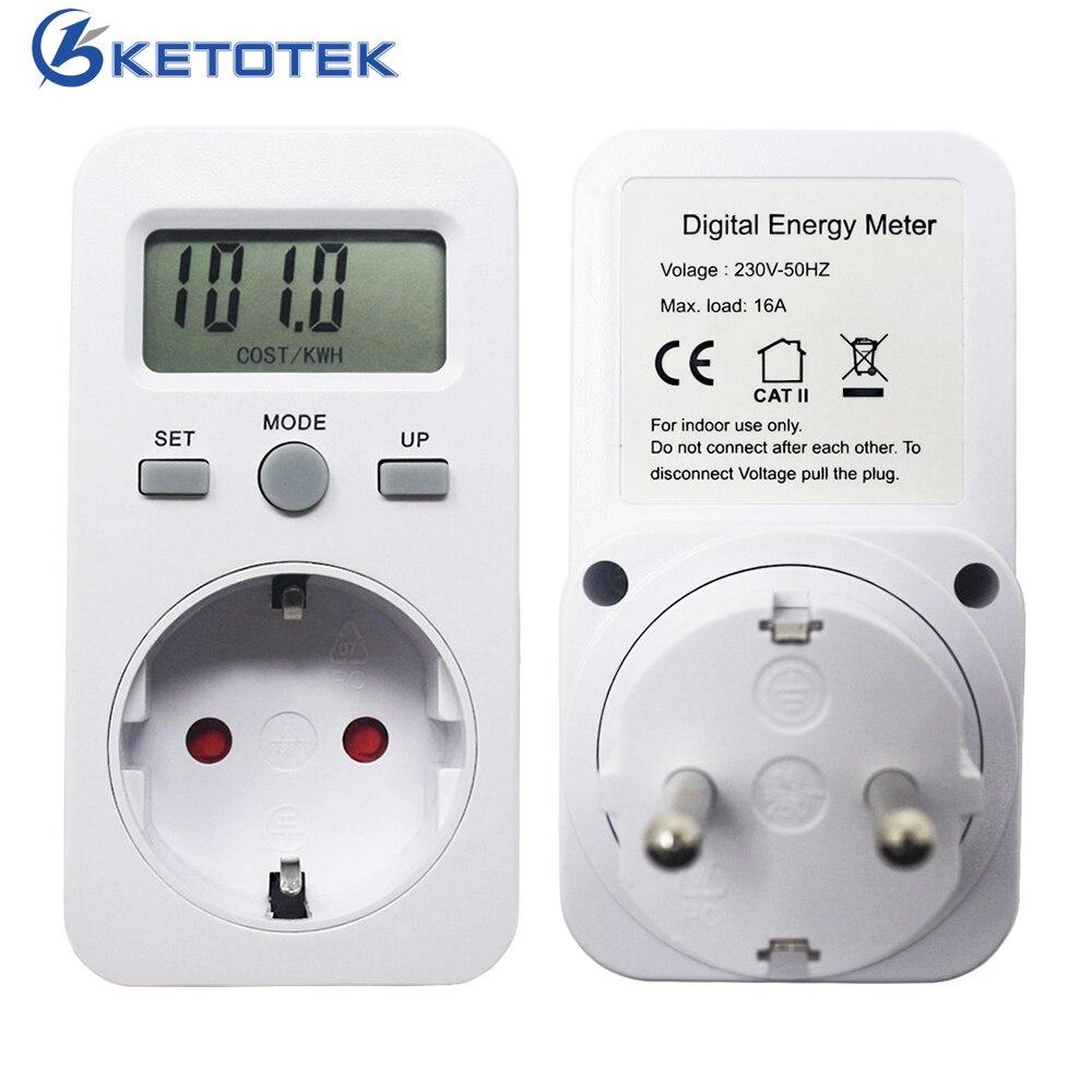 Spina di UE Wattmetro Digitale Contatore di Energia LCD di Alimentazione del Display del Monitor del Tester di Energia Elettrica di Prova Presa di Misura