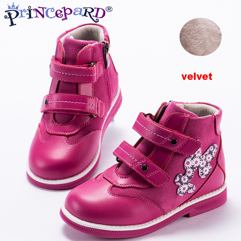 Princepard 2018 New childrens orthopedic shoes for girls pink  genuine leather velvet lining casual orthopedic shoes for child Princepard 2018 New childrens orthopedic shoes for girls pink  genuine leather velvet lining casual orthopedic shoes for child