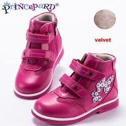 Princepard 2019 nuevos zapatos ortopédicos para niños para niñas, forro de terciopelo de cuero genuino rosa, zapatos ortopédicos casuales para niños