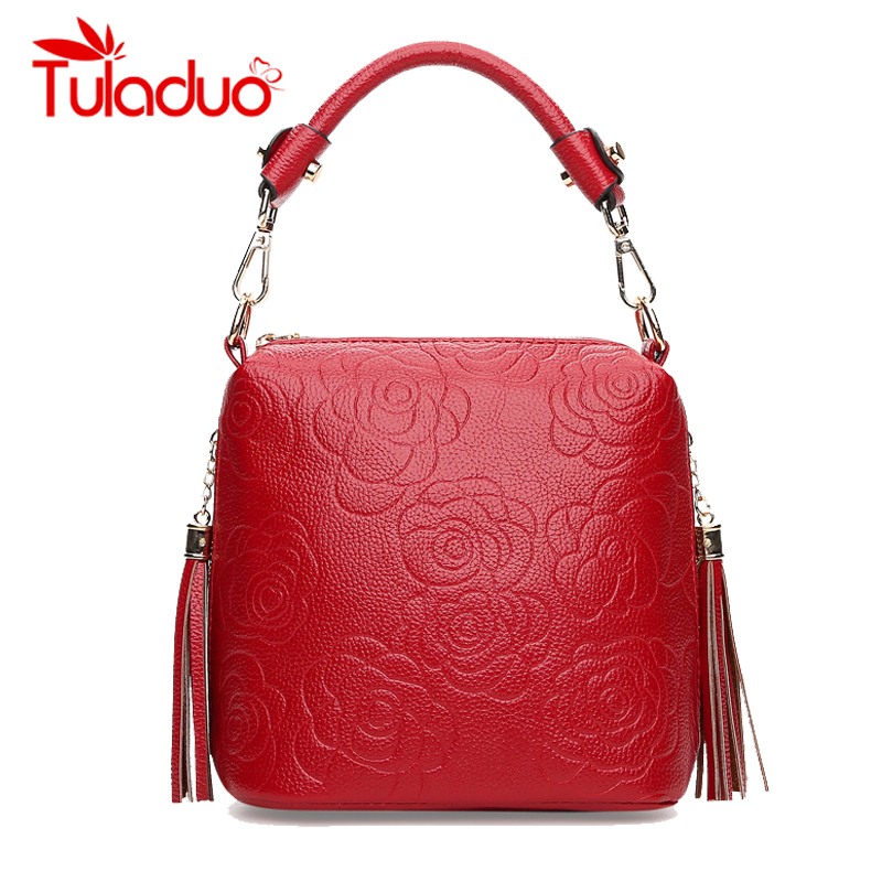Women Shoulder Bags Leather Ladies Tassel Print Flower Handbag Famous Brand High
