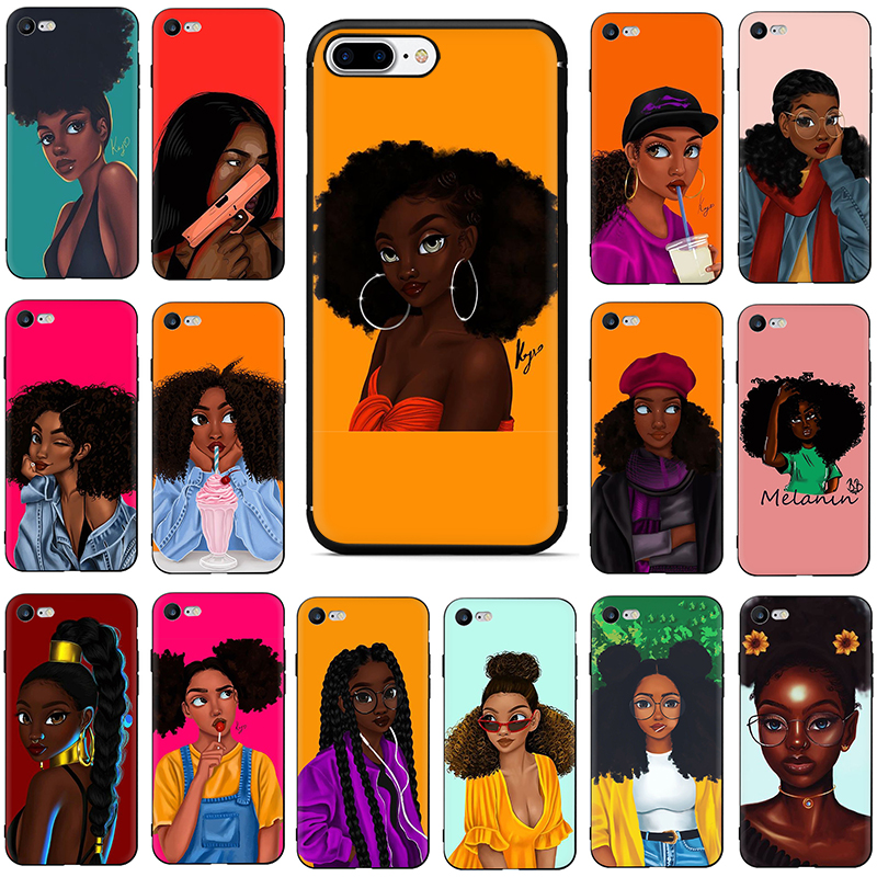 Afro Black <font><b>Girl</b></font> Melanin poppin case <font><b>for</b></font> <font><b>iphone</b></font> 7 plus Soft TPU phone <font><b>cover</b></font> cases <font><b>for</b></font> <font><b>iphone</b></font> <font><b>6</b></font> 6s 7 8 plus X XR XS Max 5 coque image