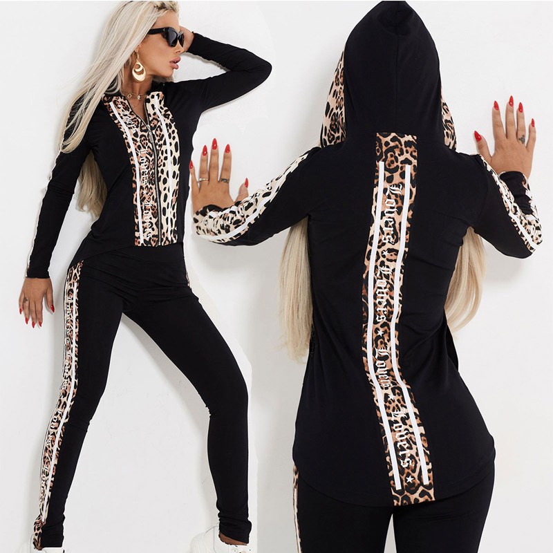 REDCORE Leopard Print Two Piece Set Women Sweatshirt Women Hoodies Jacket Tops And Trousers Fashiona Spring Womens Clothes TZ215