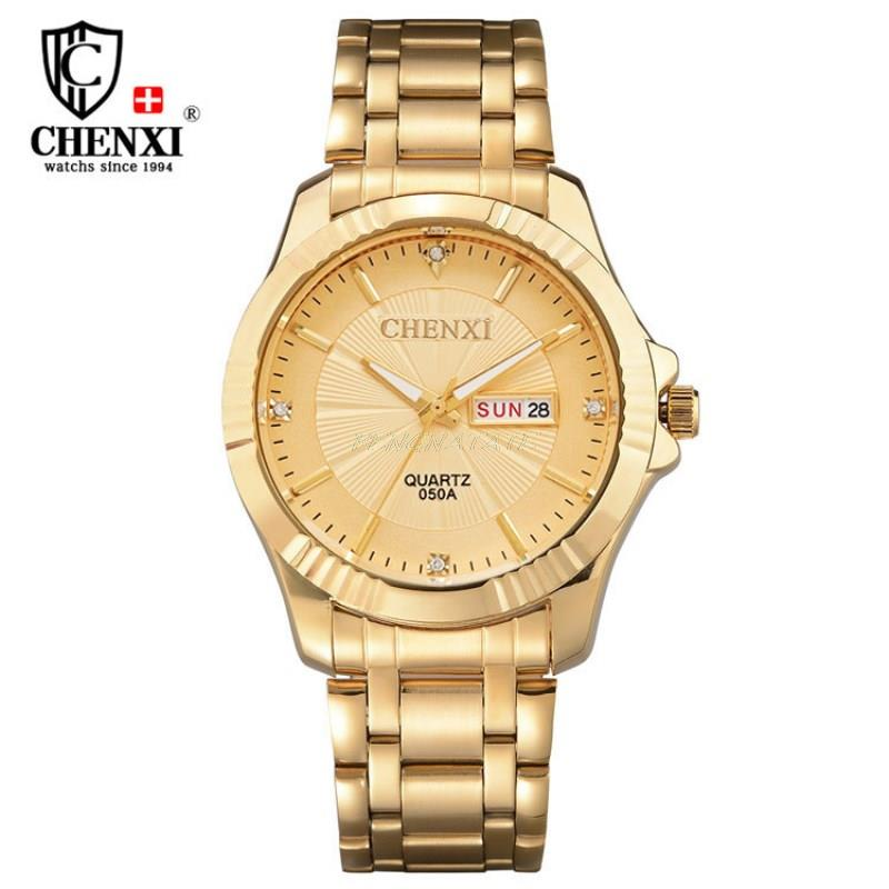 CHENXI Quartz Watches Business Stainless-Steel Luxury Gold Band-Date Day Relogio Masculino