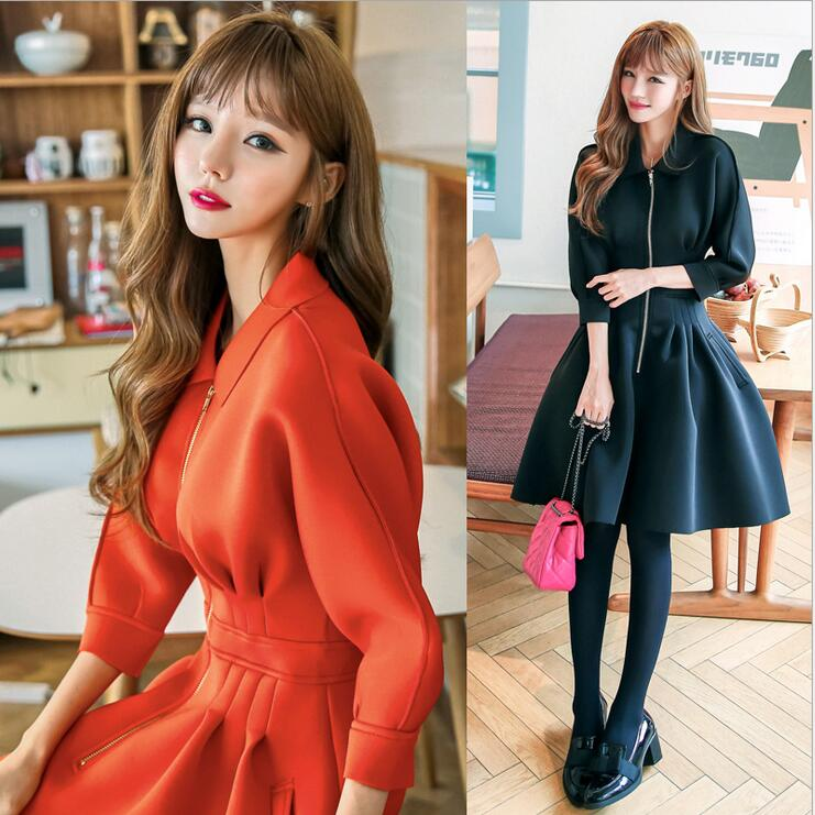 2017 Autumn and Winter New Women Dress Turn down Collar Zipper Jacket A Line Dresses Space