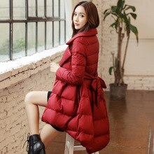 Down jacket ladies lengthy skirt 2016 new slim waist Korean winter swimsuit collar put skinny coat