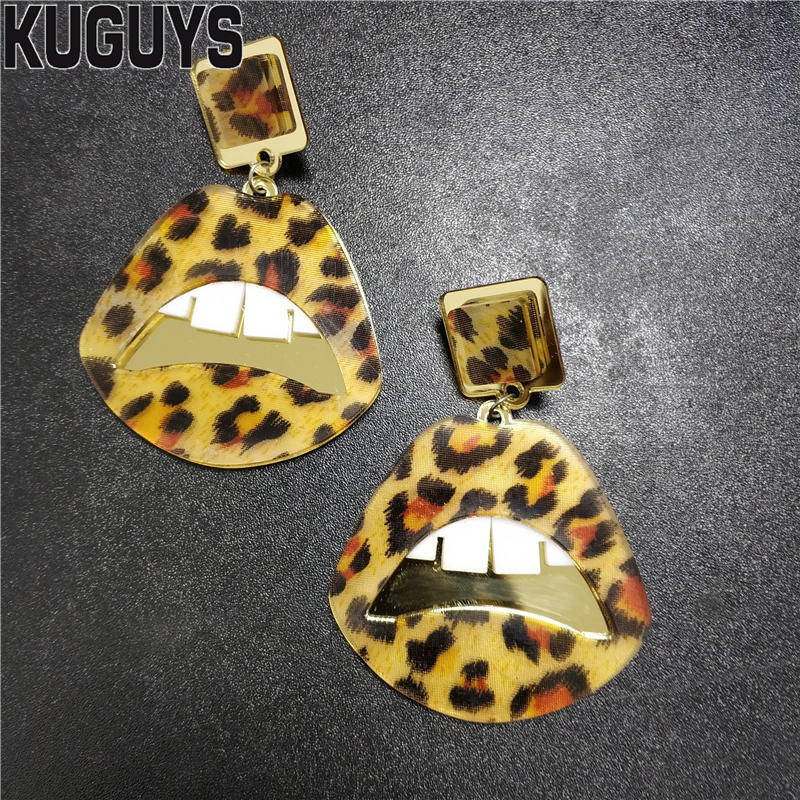 KUGUYS Large Earrings Brincos-Accessories Leopard-Print Fashion Jewelry Acrylic Trendy