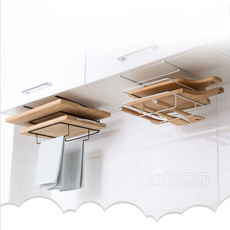 Double Layer Iron Kitchen Cabinets Shelf Chopping Board Storage Rack Shelves Kitchen Holder Rack Free Drilling White