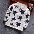 Nueva Marca de Moda de Los Niños de Cinco puntas Estrella Movimiento Camisa Cremallera Primavera Niños Outwear Niños Abrigo Fresco Bebé ropa