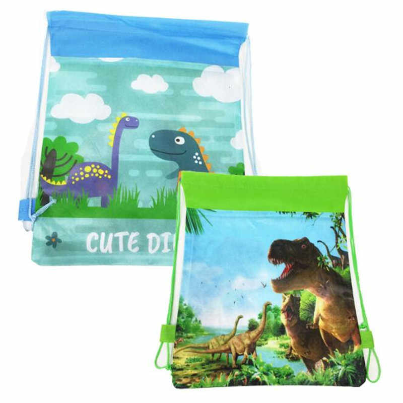 Birthday Party Mochila Boys Favors Cartoon Cute Dinosaur Theme Decorate Non-woven Fabric Baby Shower Drawstring Gifts Bags 1PCS