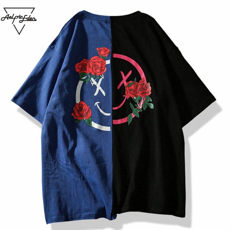 Aelfric Eden T-shirt Men Flower Printed T Shirts Hit Color Patchwork 2018 Summer Short Sleeve Lover Fashion Hip Hop Tshirts LQ12