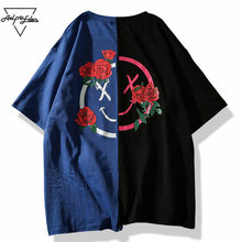 Aelfric Eden T-shirt Men Flower Printed T Shirts Hit Color Patchwork 2018 Summer Short Sleeve Lover Fashion Hip Hop Tshirts LQ12(China)
