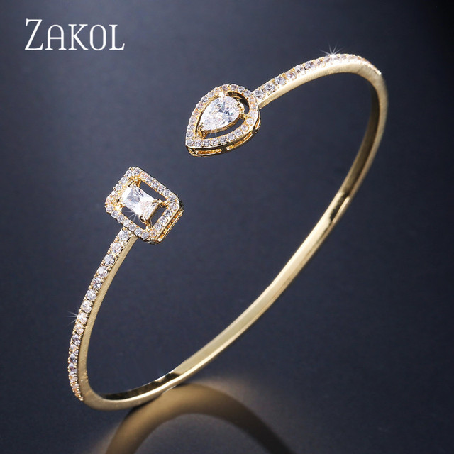ZAKOL Brand Fashion Design Jewelry Set Sparking CZ Stone Earrings Bracelet & Bangle Ring For Women 3