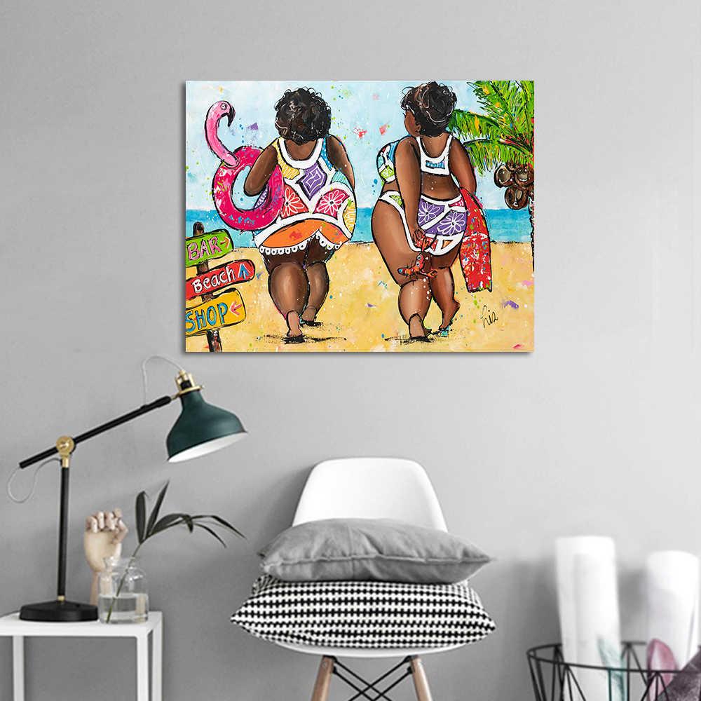 HDARTISAN Vrolijk Schilderij Wall Art Canvas Painting Animal Hot Gril on Beach Picture Prints Home Decor No Frame