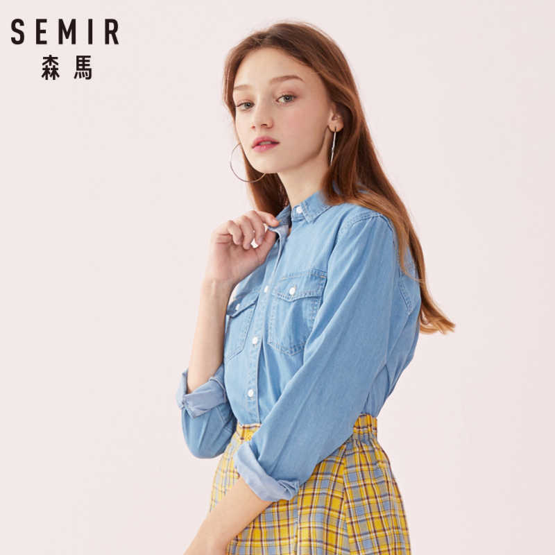 SEMIR Women 100% Cotton Plaid Shirt in Relax Fit with Collar Embroidered Shirt Tapered Waist Longer at Back Buttons at Cuffs