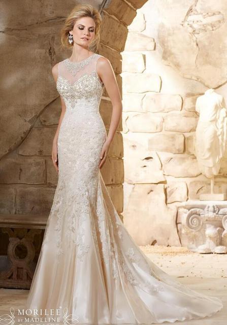 2017 Romantic Mermaid Wedding Dress Heavy Beading Luxury Lace Sheer Neck  Wedding Gowns Designer Bridal Gowns White Dresses b0c44ac1f4fe
