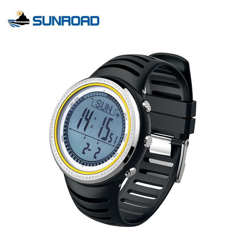 ФОТО SUNROAD Digital Fishing Watches 5ATM Waterproof Altimeter Barometer Compass Stopwatch Outdoor Fishing Pedometer Watch Men FR802