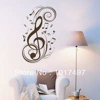 Free Shipping Black White Red Large Size 95x56cm Removable Vinyl Musical Notes Wall Stickers Home Wall