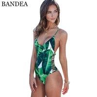 BANDEA Sexy Maillot Une Pièce Set Femmes Maillots De Bain 2018 Vert Feuille Body Bandage Cut Out Plage Maillot de bain Monokini Maillot de Bain