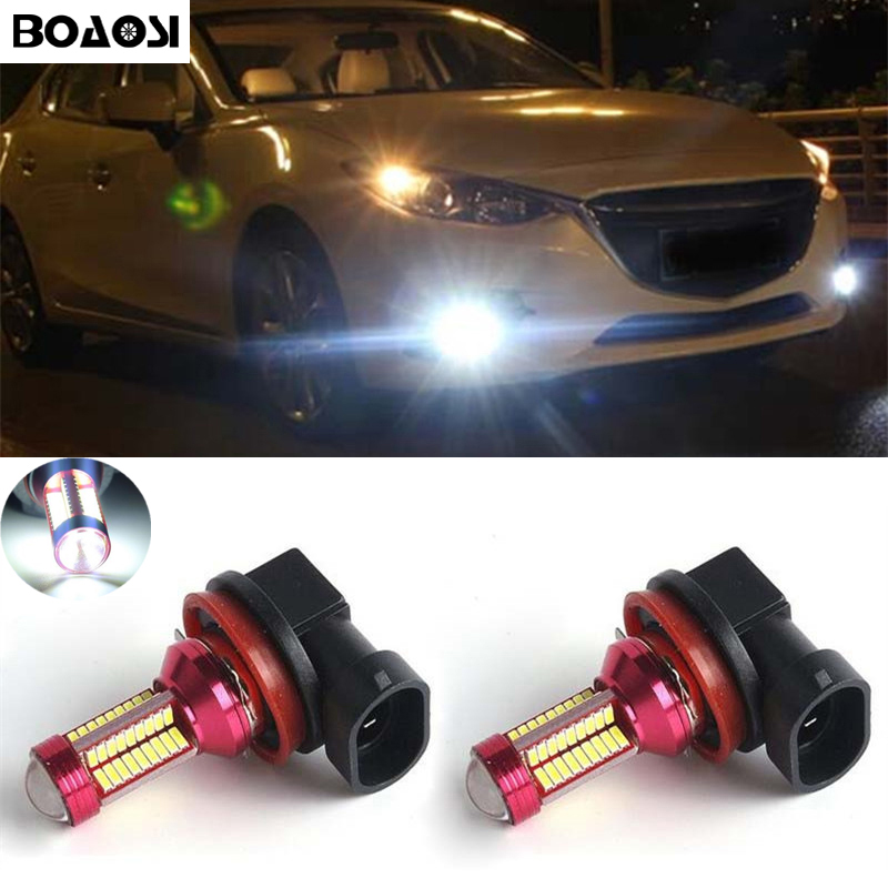 2pcs H11 High Power LED Light 2835 66SMD Fog Light Driving DRL Car Light for Mazda 3/5/6 CX-5 CX-7 accessories противотуманки bmw e60