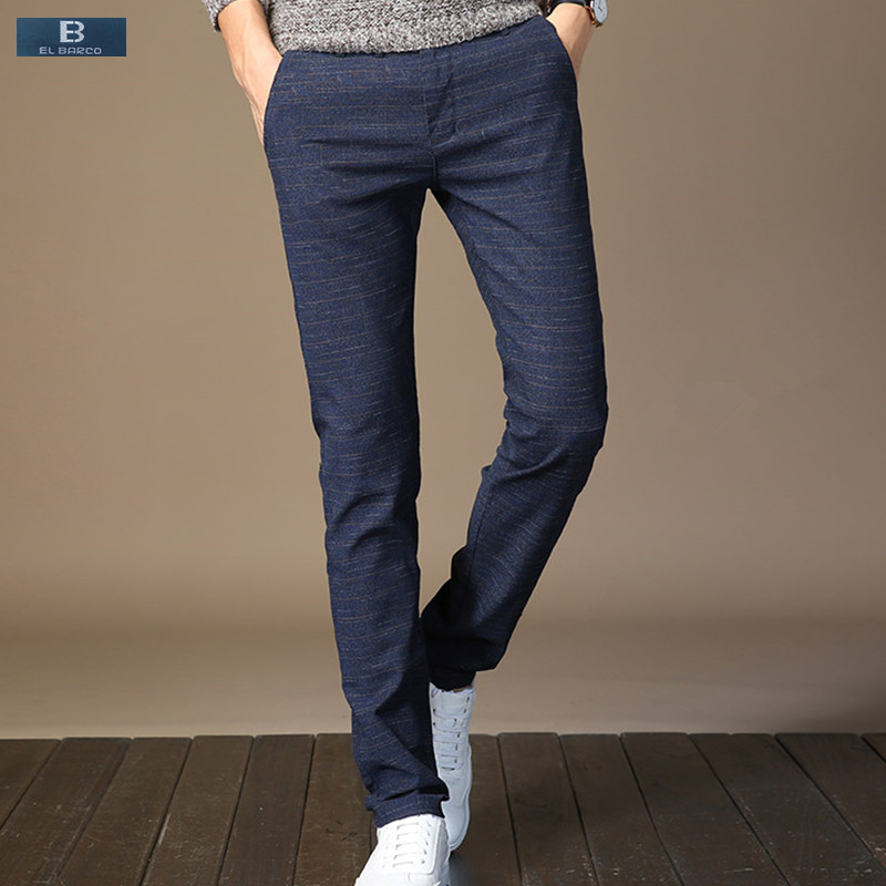 2018 New Men Casual Pants Cotton Polyester Autumn Long Male Trousers Soft Slim Fit Stripe Black Grey Navy-Blue Gentleman Pant