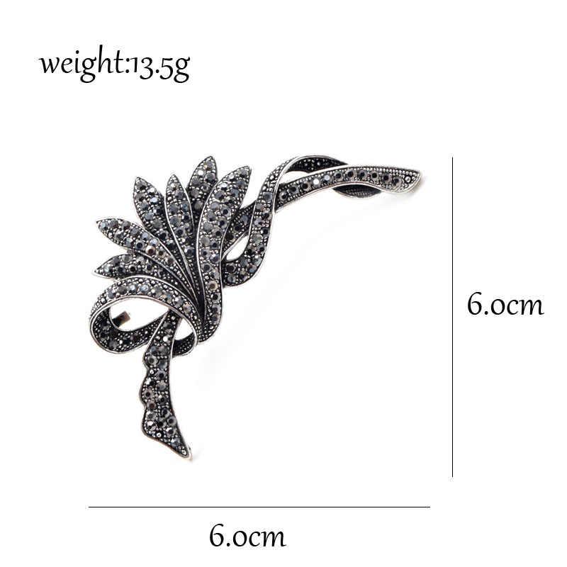 Cindy Xiang Berlian Imitasi Hitam Bunga Bros untuk Wanita Fashion Vintage Bros Pin Aksesoris Pesta Besar Bros Hadiah