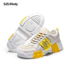 2019 spring new breathable student shoes casual fashion net cloth dad height single size increase