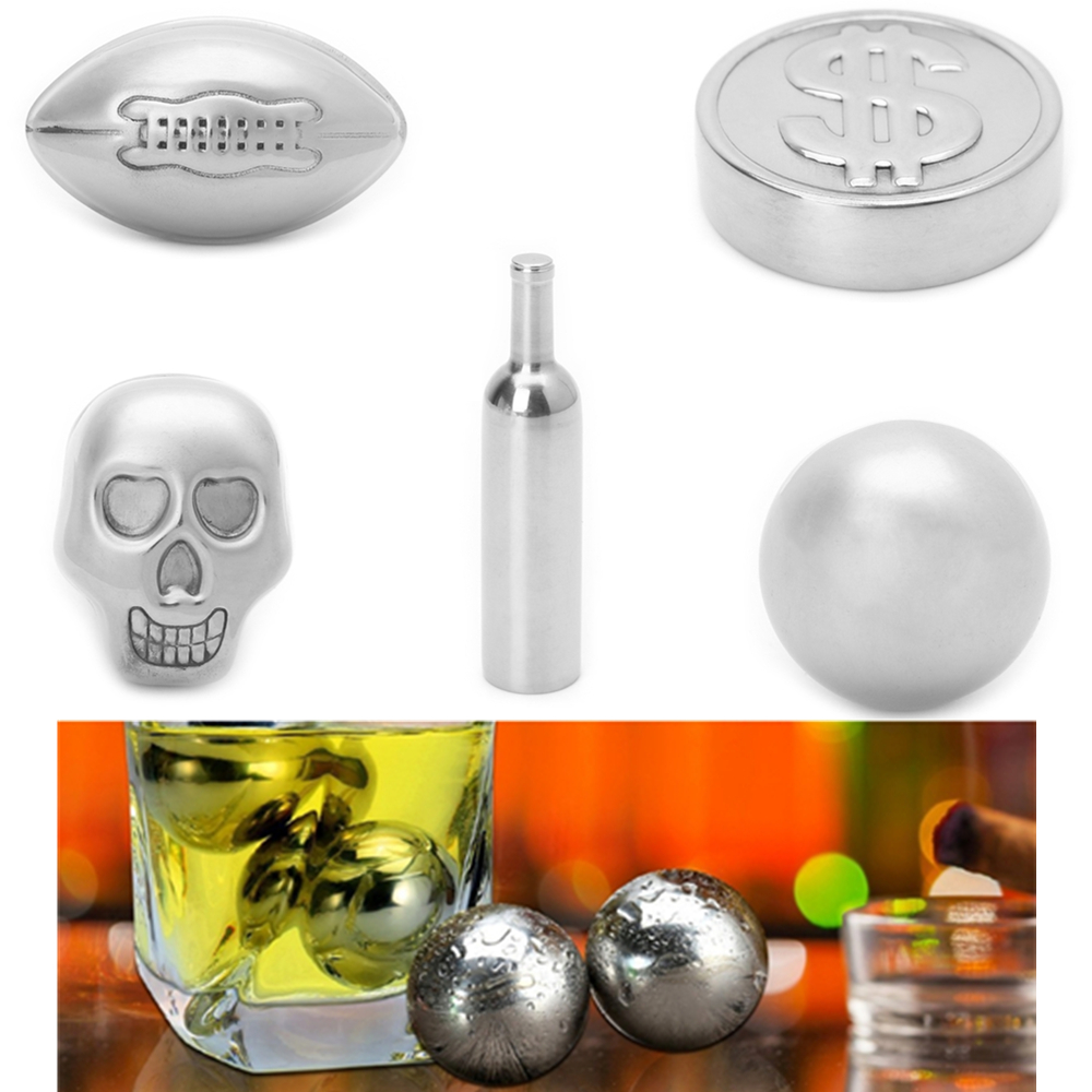 1Pc Stainless Steel Skull Ball Bottle Rugby USA Dollar Shape Ice Cube Cooling Beer Whisky Wine Cocktail Cooler Bar Tool Barware