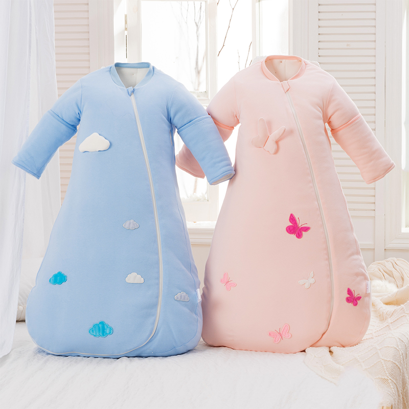 Stereoscopic embroidery sleeping bag Autumn and winter boy girl chirdren envelop for newborns thicken sleeping bag boy girl infant wrap envelop for newborns sleeping bag pure cotton printed with fawn patterns thicken in autum winter or sprin