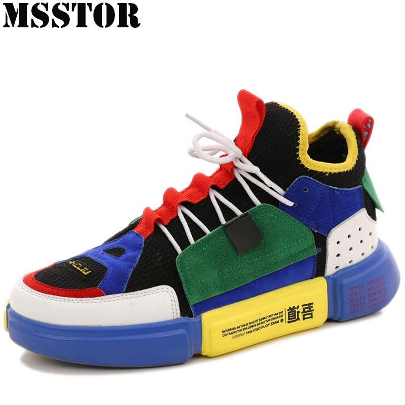цена MSSTOR Women Men Skateboarding Shoes Man Brand Lovers Flat With Walking Sport Shoes For Women Outdoor Athletic Womens Sneakers