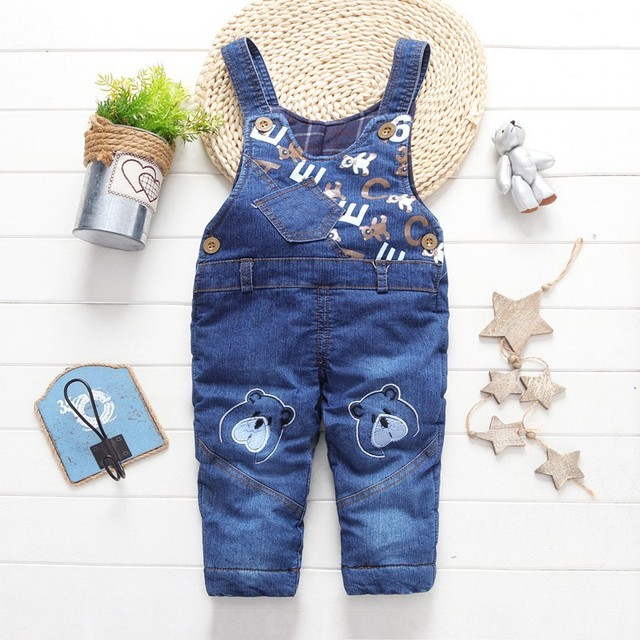 Autumn  Winter Children 's Clothing Jeans Boys Girls Harness Bib  Pants Long Trousers Thick Trousers Cotton Warm Pants5-18M